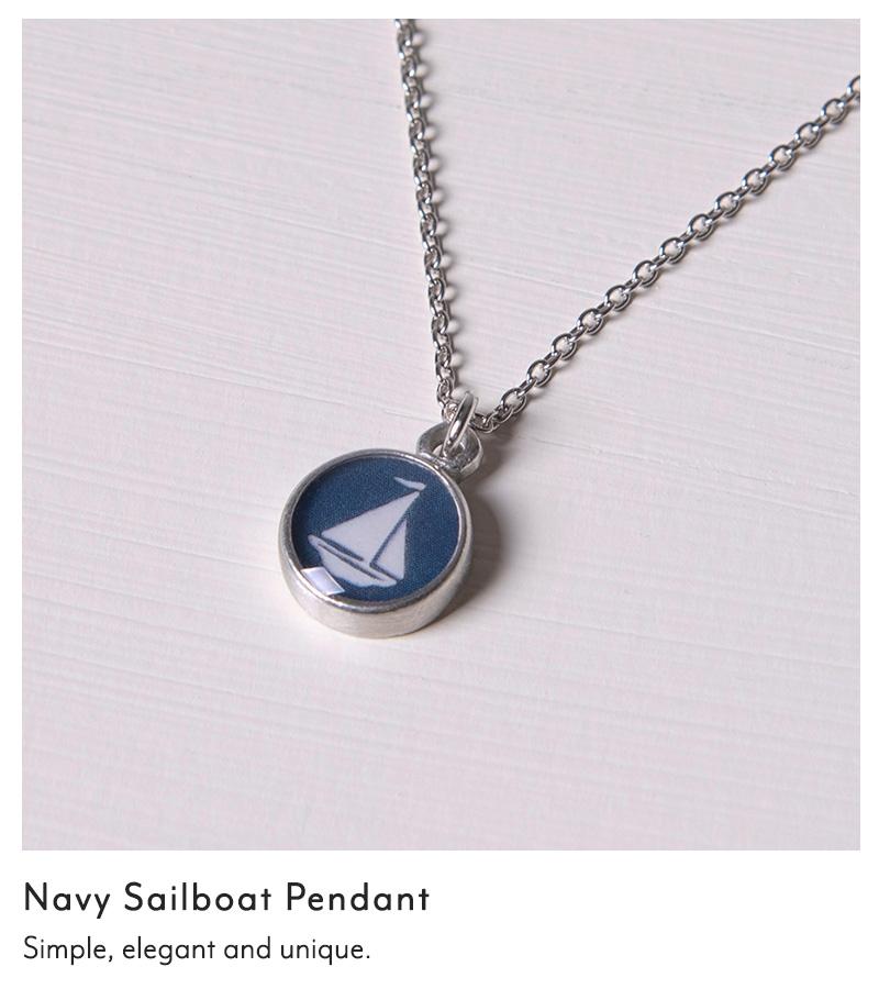 Navy Sailboat Pendant